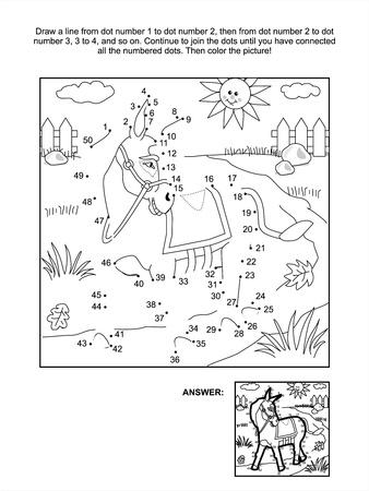 Verbind de stippen foto puzzel en kleurplaat - ezel. Inbegrepen antwoord.