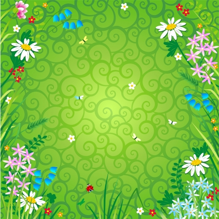 Spring or summer floral background with wildflowers, insects and green decorative swirly backdrop Illustration