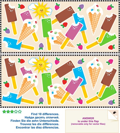 Visual logic puzzle: Find the ten differences between the two pictures - yummy ice cream bars and cones. Answer included. Illustration