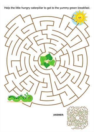 아이들을위한 게임이나 활동 페이지 미로 : 맛있는 녹색 아침에 도착하는 작은 배고픈 애벌레를 도와주세요. 대답이 포함되어 있습니다.