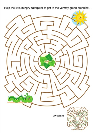 Maze game or activity page for kids: Help the little hungry caterpillar to get to the yummy green breakfast. Answer included. Vector