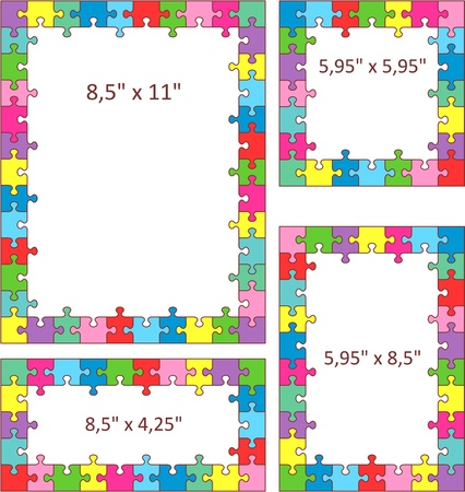 Multicolor jigsaw puzzle frames, borders of Letter and other sizes. Vector