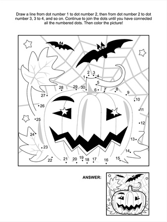 printable: Connect the dots picture puzzle and coloring page - Halloween night scene with pumpkin, bats and spiderweb. Answer included. Illustration
