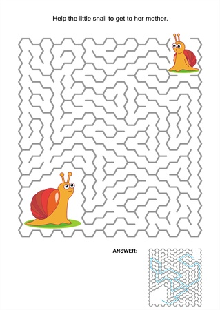 Maze game or activity page for kids  Help the little snail to get to her mother  Answer included  Vector