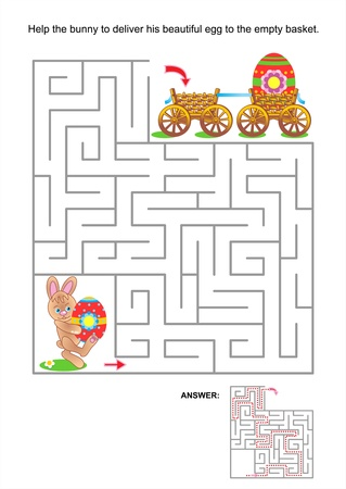 maze game: Easter maze game or activity page for kids  Help the little bunny to deliver his beautiful egg to the empty basket  Answer included  Illustration
