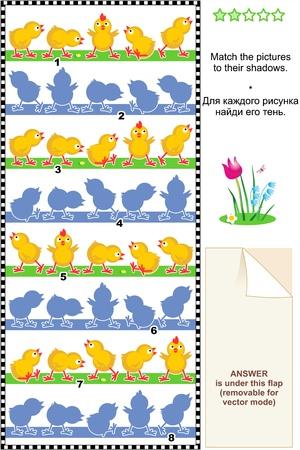 수수께끼: 시각적 인 퍼즐이나 그림 수수께끼는 응답에 포함 그들의 그림자에 닭의 그림을 일치