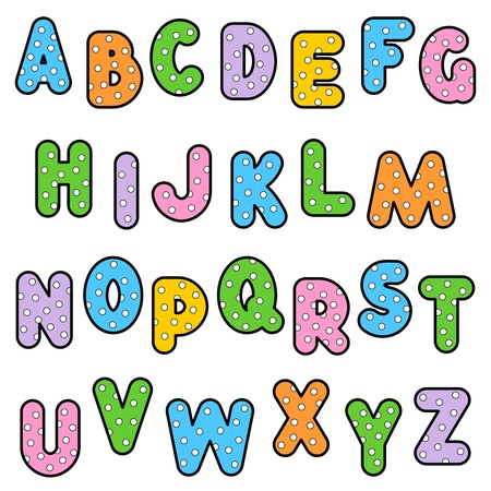 alphabet: ABC set of colorful outlined letters with polka-dot pattern