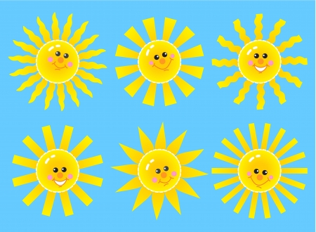 Set of happy cartoon sun faces isolated on blue background Vector