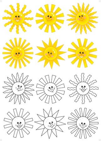 sol caricatura: Conjunto de sol de dibujos animados feliz caras aislados sobre fondo blanco con garabatos en blanco y negro