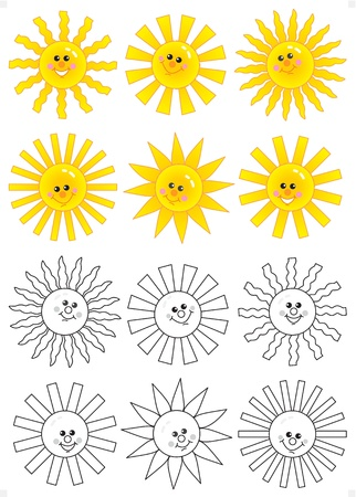 Set of happy cartoon sun faces isolated on white background with black and white doodles