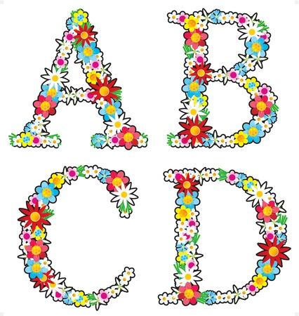 Floral alphabet set, letters A - D Vector