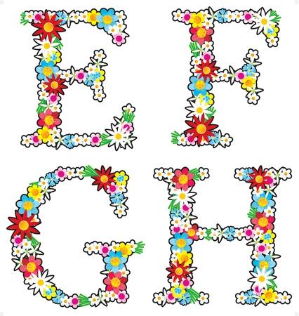 Floral alphabet set, letters E - H Illustration