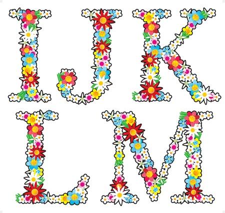 Floral alphabet set, letters I - M Illustration