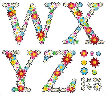 Floral alphabet set, letters W - Z, design elements