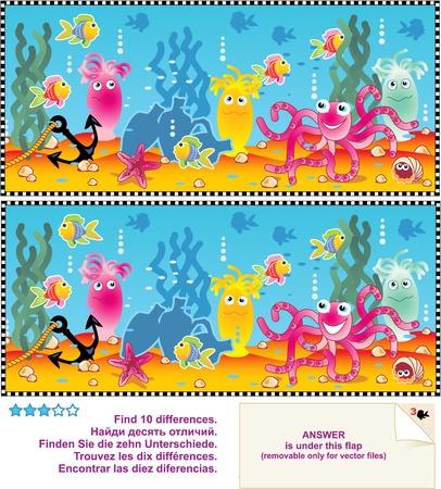 fond marin: Picture Puzzle: Trouvez les dix diff�rences entre les deux images - sc�nes de la vie sous-marine Illustration