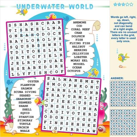 Onderwaterwereld zigzag woordzoeker puzzel, antwoord opgenomen