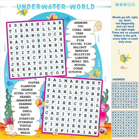 Underwater world zigzag word search puzzle, answer included Illustration
