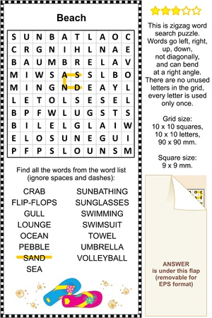 Beach themed zigzag word search puzzle  suitable both for kids and adults   Answer included