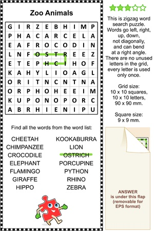 Zoo animals zigzag word search puzzle  Answer included