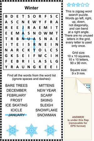 Winter themed zigzag word search puzzle  suitable both for kids and adults   Answer included