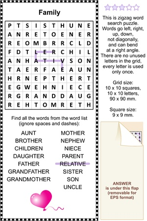 Family and relatives themed zigzag word search puzzle  suitable both for kids and adults   Answer included  Illustration