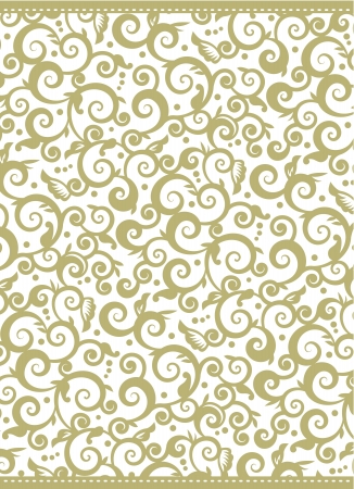 framed: Elegant gold and white Christmas, New Year or other holiday background with swirly floral pattern Illustration