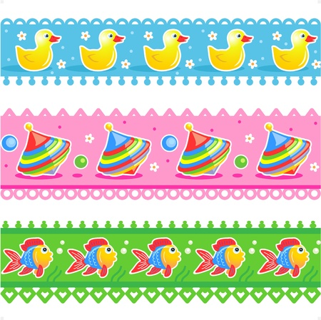 Three easy to repeat border tiles or ribbon swatches with rubber ducks, spinning tops, and fish patterns Stock Vector - 20668535