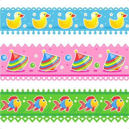 Tres fácil repetir cenefas o muestras de cinta con los patos de goma, trompos, y los patrones de los peces
