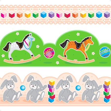 baby blocks: Three easy to repeat border tiles or ribbon swatches with buildig blocks,rocking horses and stuffed hares patterns