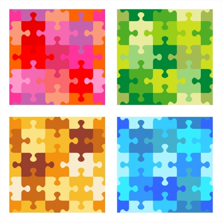 color swatches: Four jigsaw puzzle repeat patterns - red  valentine , green  camouflage , tan and brown, blue  sea water  color palettes