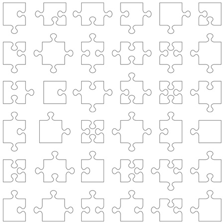 Accurate transparent contours of popular design elements - jigsaw puzzle pieces  Set of 36 various shapes fitting each other
