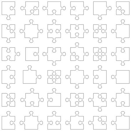 Genaue transparente Konturen beliebte Design-Elemente - Puzzleteile Satz von 36 verschiedenen Formen passend einander