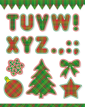 Christmas red and green alphabet set  part two, letters T - Z  and design elements - christmas tree, bow, star, snowflake, ball, borders Vector