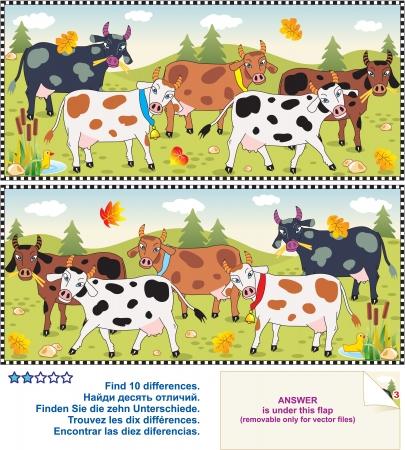 수수께끼: 목장에서 발견 된 젖소 - 비주얼 논리 퍼즐은 두 개의 그림 사이의 10 차이점을 찾기 일러스트