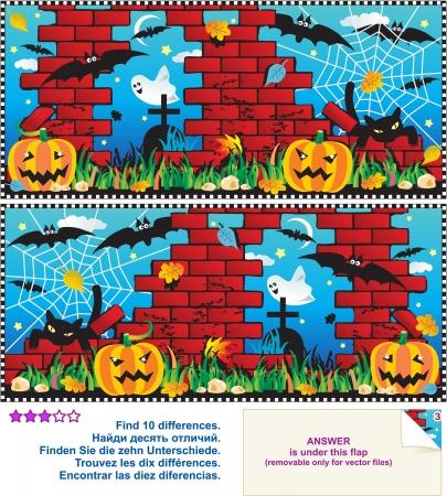 Visueel logische puzzel Zoek de tien verschillen tussen de twee foto - Halloween night scene Stock Illustratie
