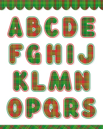 red plaid: Christmas red and green alphabet set  part one, letters A - S  and design elements