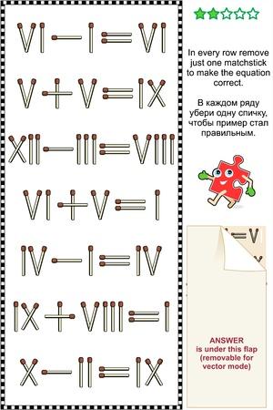 numeros romanos: Rompecabezas visual de la matemáticas con los números romanos en cada fila quitar sólo una cerilla para que la ecuación correcta Vectores