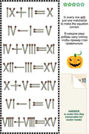 numeros romanos: Rompecabezas visual de la matemáticas con los números romanos en cada fila añadir sólo una cerilla para que la ecuación correcta