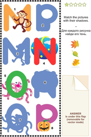 Learn with fun letters of English alphabet  Match pictures of letters M  monkey , N  night , O  octopus , P  pumpkin  to the shadows  Answer included  Vector