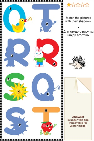 Learn with fun letters of English alphabet  Match pictures of letters Q  quack , R  rabbit , S  sun , T  tomato  to the shadows  Answer included  Vector