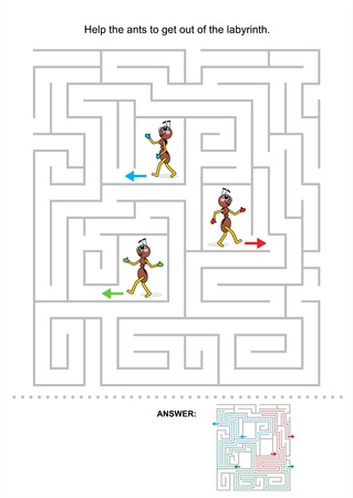 Help the ants to get out of the labyrinth, maze game for kids, answer included Stock Vector - 21059857