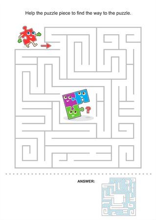 Help het puzzelstukje om de weg naar de puzzel, doolhof spel voor kinderen te vinden, antwoord inbegrepen Stock Illustratie