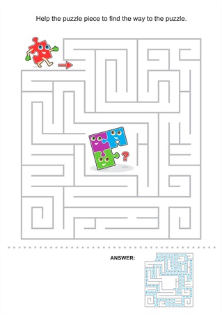 Help the puzzle piece to find the way to the puzzle, maze game for kids, answer included Illustration