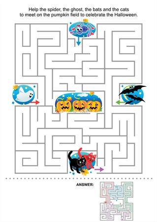 Doolhof spel voor kinderen Help de spin, de geest, de vleermuizen en de katten te ontmoeten op het veld pompoen aan de Halloween Antwoord vieren opgenomen Stock Illustratie