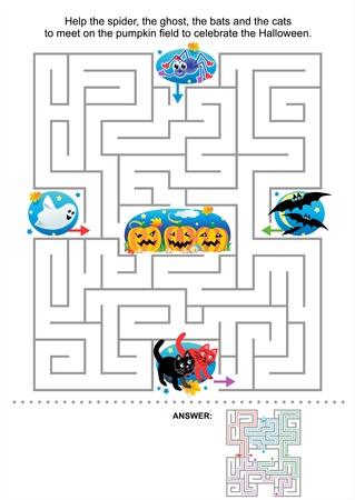 Maze game for kids  Help the spider, the ghost, the bats and the cats to meet on the pumpkin field to celebrate the Halloween  Answer included