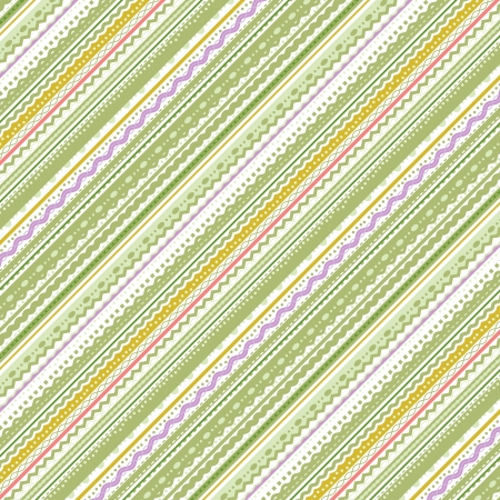 Stripes and laces green and white background, pattern fill expanded and cropped, seamless pattern included in swatch palette Illustration