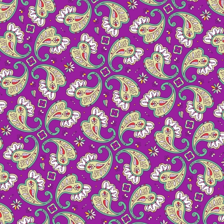 kashmir: Paisley pattern background, pattern fill expanded, seamless pattern included in swatch palette