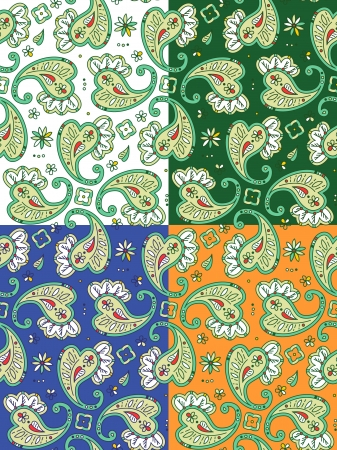 Four seamless paisley patterns, pixel aligned, tiles separated Vector