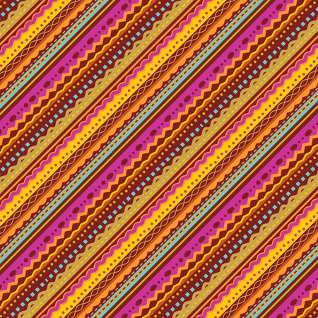 kashmir: Diagonal stripes and laces background of autumn colors, pattern fill expanded and cropped, seamless pattern included in swatch palette