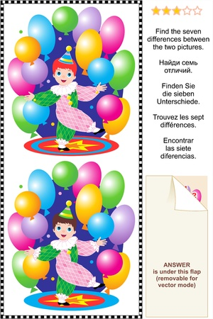 Picture puzzle  Find the seven differences between the two pictures of little circus clown boy performing with colorful balloons  Answer included  Illustration